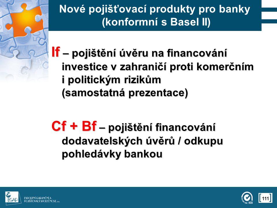 111 Nové pojišťovací produkty pro banky (konformní s Basel II) If – pojištění úvěru na financování investice v zahraničí proti komerčním i politickým rizikům (samostatná prezentace) Cf + Bf – pojištění financování dodavatelských úvěrů / odkupu pohledávky bankou