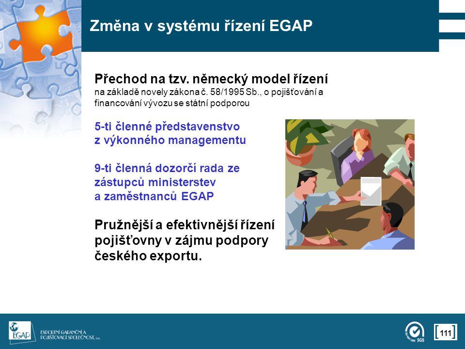 111 Změna v systému řízení EGAP Přechod na tzv. německý model řízení na základě novely zákona č. 58/1995 Sb., o pojišťování a financování vývozu se st