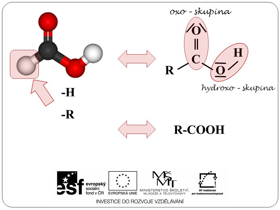 -R -H R C O O H oxo – skupina hydroxo – skupina R-COOH
