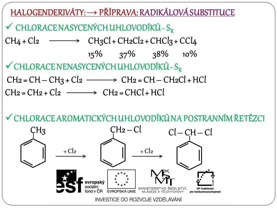 CHLORACE NASYCENÝCH UHLOVODÍKŮ - S R CH4 + Cl2CH3Cl + CH2Cl2 + CHCl3 + CCl4 15% 37% 38% 10% CHLORACE NENASYCENÝCH UHLOVODÍKŮ - S R CH2 = CH – CH3 + Cl2 CH2 = CH – CH2Cl + HCl CH2 = CH2 + Cl2 CH2 = CHCl + HCl CHLORACE AROMATICKÝCH UHLOVODÍKŮ NA POSTRANNÍM ŘETĚZCI HALOGENDERIVÁTY: → PŘÍPRAVA: RADIKÁLOVÁ SUBSTITUCE – CH3 + Cl2 – CH2 – Cl + Cl2 – Cl – CH – Cl