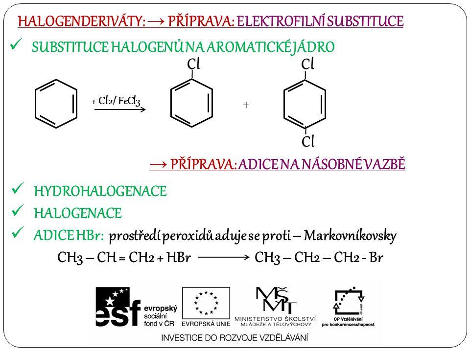 SUBSTITUCE HALOGENŮ NA AROMATICKÉ JÁDRO HALOGENDERIVÁTY: → PŘÍPRAVA: ELEKTROFILNÍ SUBSTITUCE + Cl2/ FeCl3 – Cl + – – → PŘÍPRAVA: ADICE NA NÁSOBNÉ VAZBĚ HYDROHALOGENACE HALOGENACE ADICE HBr: prostředí peroxidů aduje se proti – Markovníkovsky CH3 – CH = CH2 + HBr CH3 – CH2 – CH2 - Br