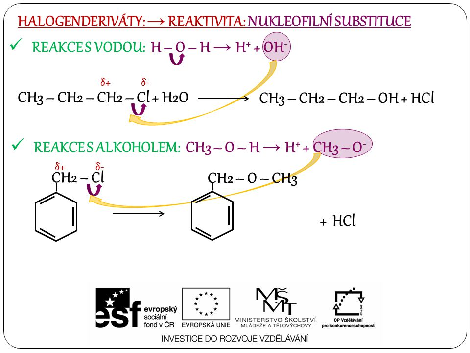 REAKCE S VODOU: H – O – H → H + + OH - HALOGENDERIVÁTY: → REAKTIVITA: NUKLEOFILNÍ SUBSTITUCE REAKCE S ALKOHOLEM: CH3 – O – H → H + + CH3 – O - CH3 – CH2 – CH2 – Cl + H2O δ+δ+δ-δ- CH3 – CH2 – CH2 – OH + HCl – CH2 – Cl δ+δ+δ-δ- – CH2 – O – CH3 + HCl