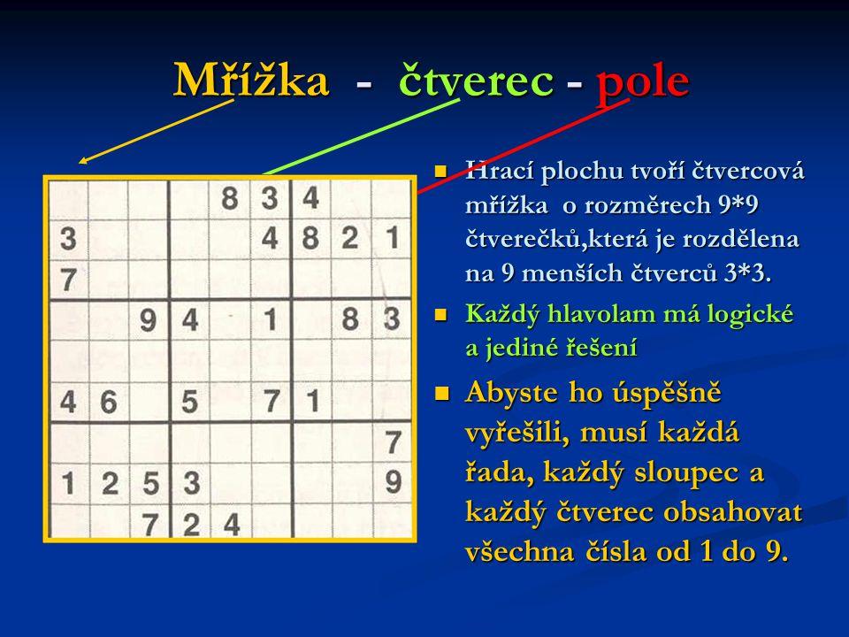 Mřížka - čtverec - pole Mřížka - čtverec - pole Hrací plochu tvoří čtvercová mřížka o rozměrech 9*9 čtverečků,která je rozdělena na 9 menších čtverců 3*3.