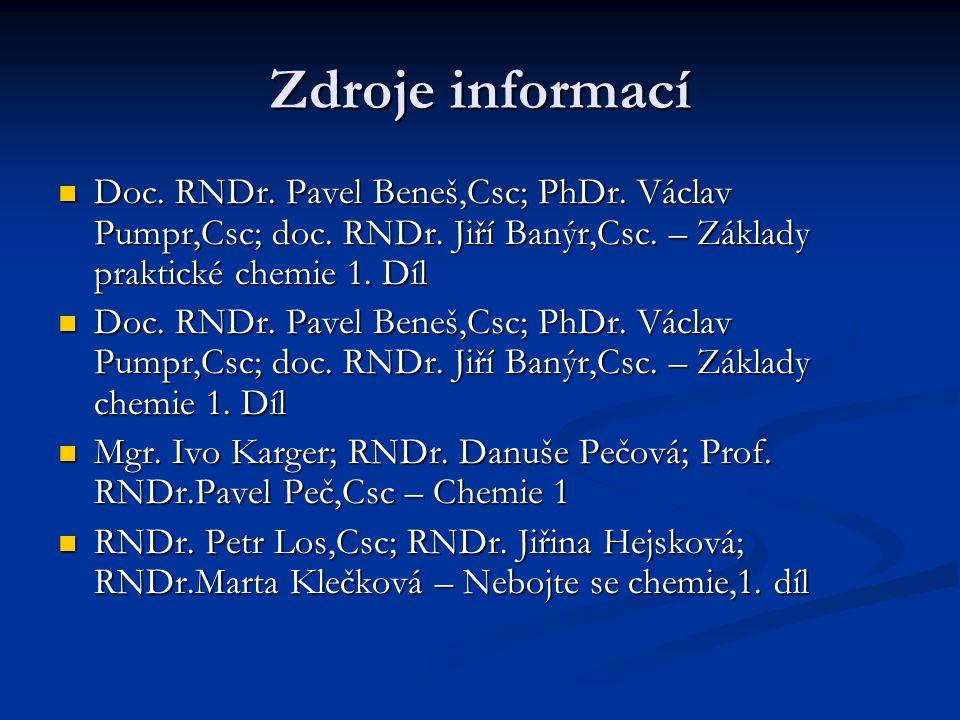Zdroje informací Doc.RNDr. Pavel Beneš,Csc; PhDr.