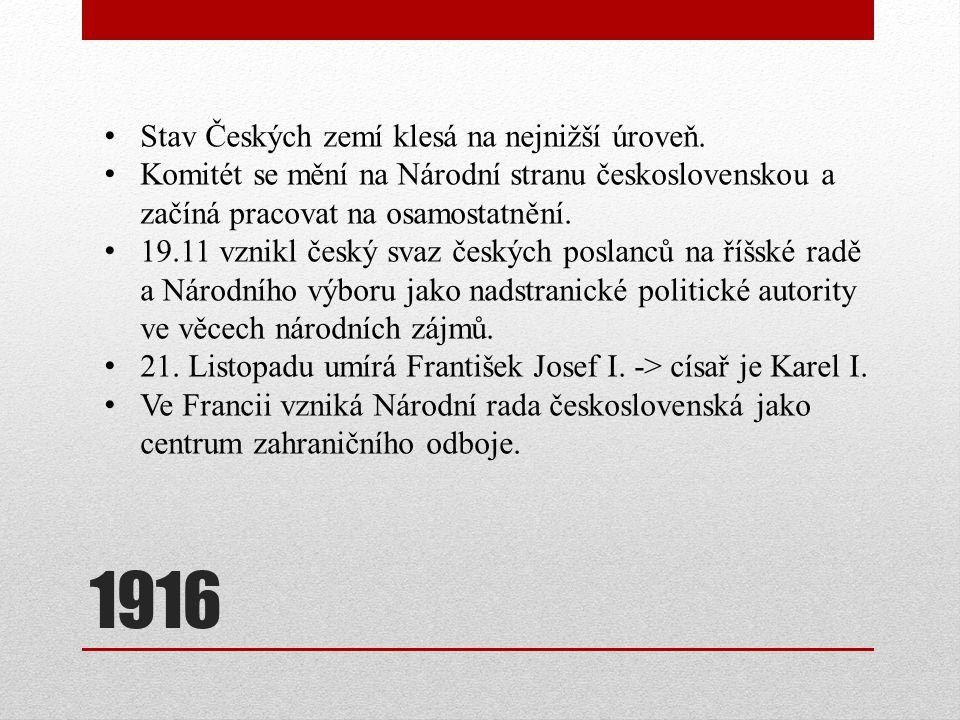 1916 Stav Českých zemí klesá na nejnižší úroveň. Komitét se mění na Národní stranu československou a začíná pracovat na osamostatnění. 19.11 vznikl če