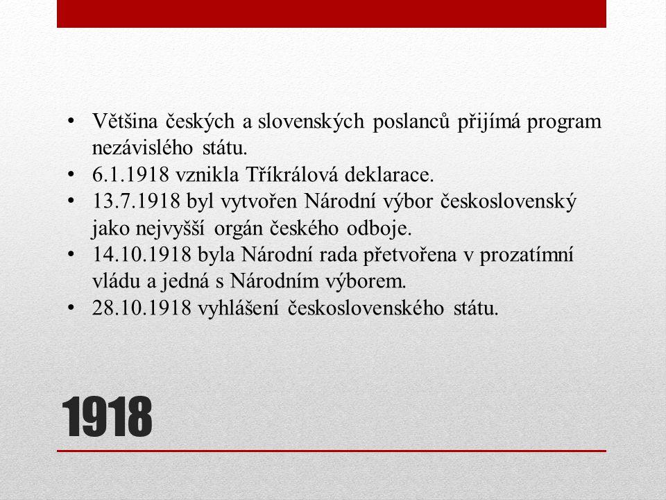 1918 Většina českých a slovenských poslanců přijímá program nezávislého státu. 6.1.1918 vznikla Tříkrálová deklarace. 13.7.1918 byl vytvořen Národní v