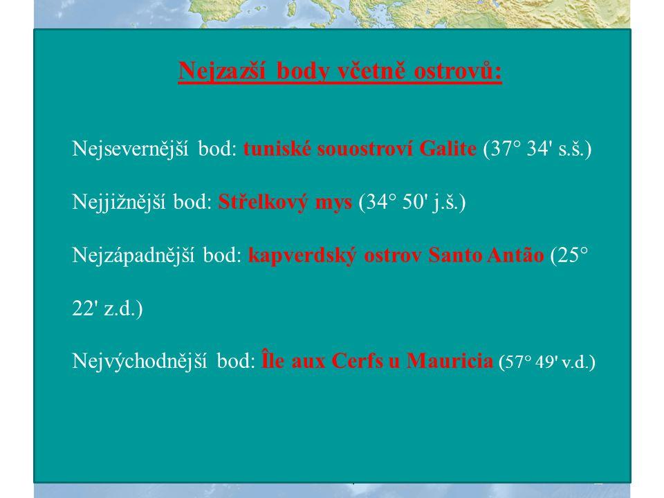 Bílý mys (37°21' s.š.) NEJSEVERNĚJŠÍ BOD NEJJIŽNĚJŠÍ BOD Střelkový mys (34°52' j.š.) Zelený mys (17°38' z.d.) NEJZÁPADNĚJŠÍ BOD NEJVÝCHODNĚJŠÍ BOD Mys