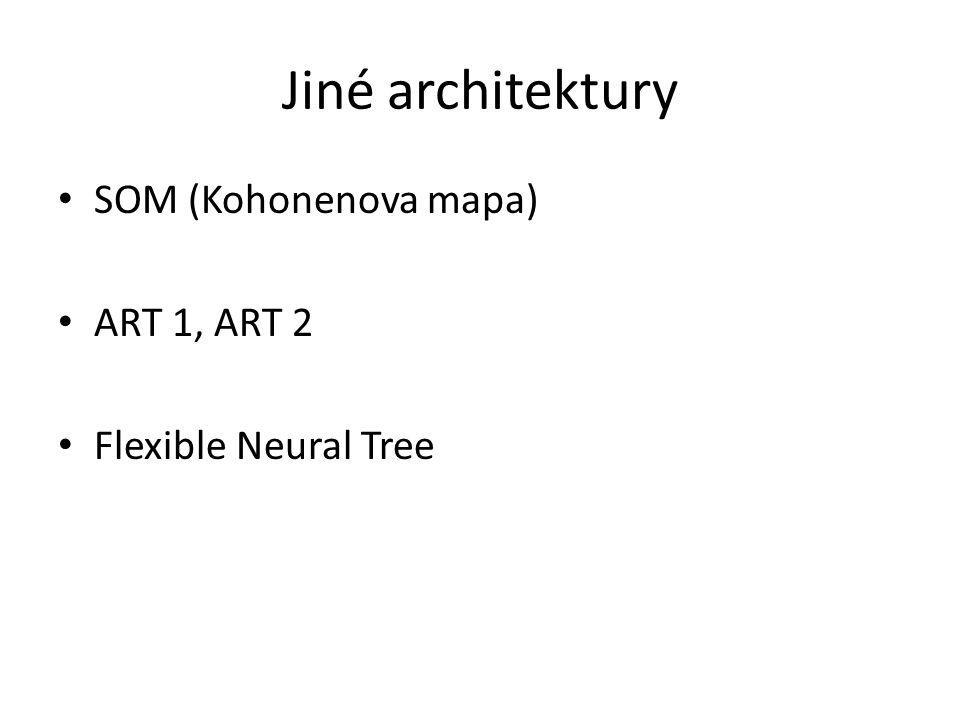 Jiné architektury SOM (Kohonenova mapa) ART 1, ART 2 Flexible Neural Tree