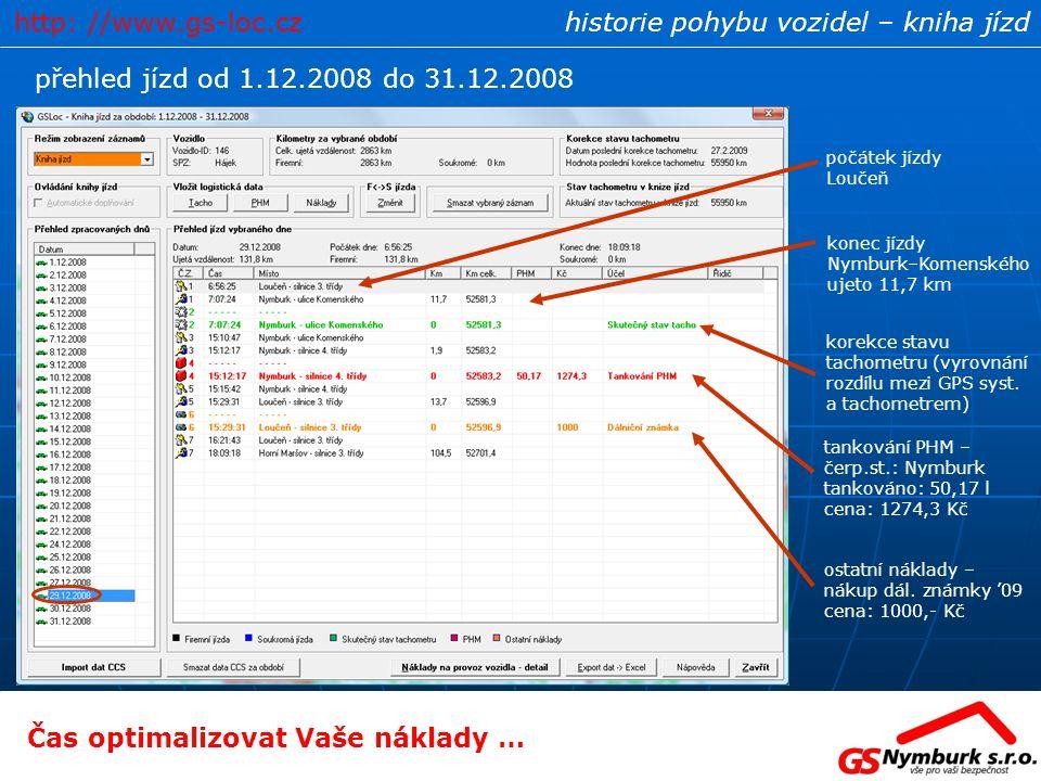 historie pohybu vozidel – kniha jízd přehled jízd od 1.12.2008 do 31.12.2008 korekce stavu tachometru (vyrovnání rozdílu mezi GPS syst. a tachometrem)