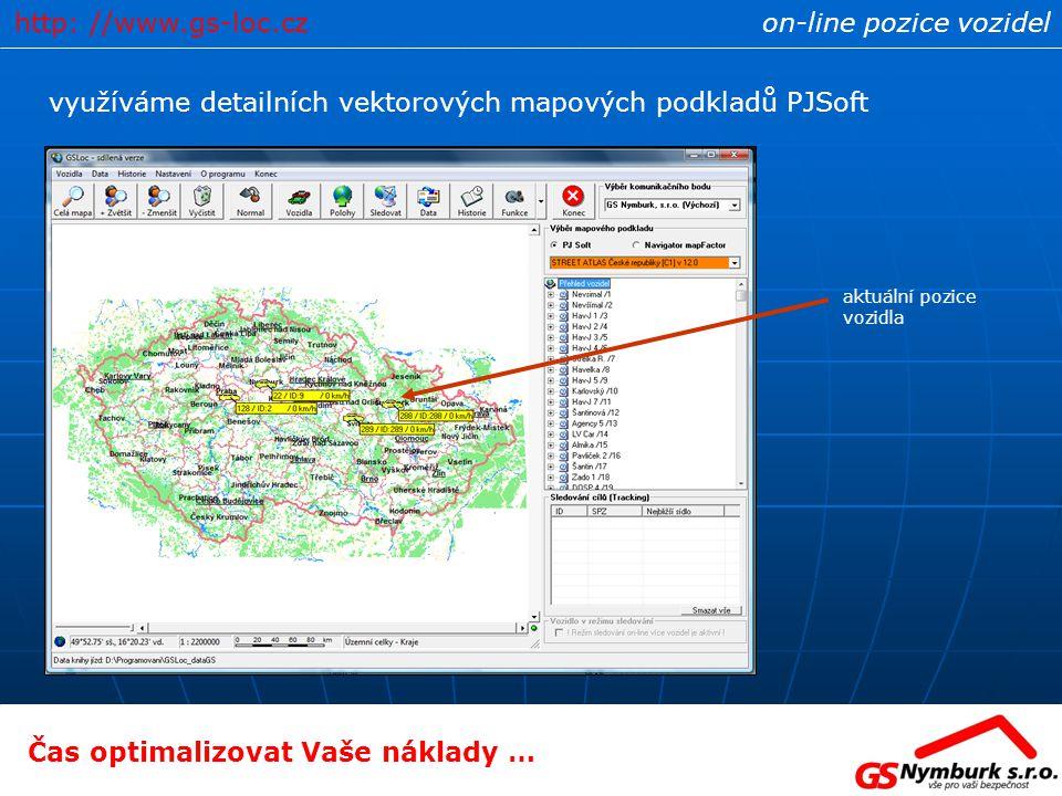 on-line pozice vozidel využíváme detailních vektorových mapových podkladů PJSoft aktuální pozice vozidla Čas optimalizovat Vaše náklady … http: //www.