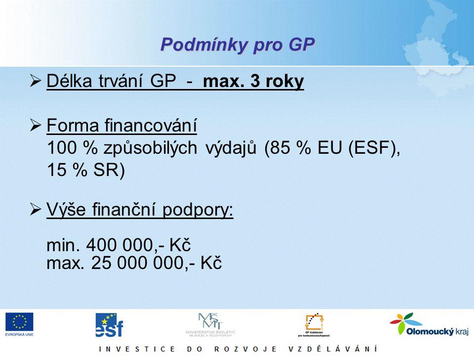 Podmínky pro GP  Délka trvání GP - max. 3 roky  Forma financování 100 % způsobilých výdajů (85 % EU (ESF), 15 % SR)  Výše finanční podpory: min. 40