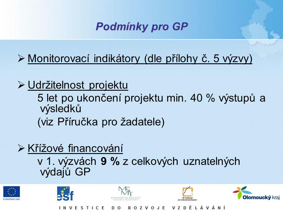 Podmínky pro GP  Monitorovací indikátory (dle přílohy č. 5 výzvy)  Udržitelnost projektu 5 let po ukončení projektu min. 40 % výstupů a výsledků (vi