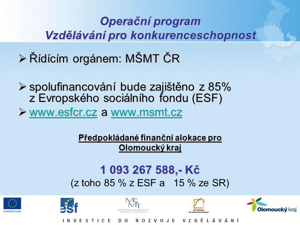 Operační program Vzdělávání pro konkurenceschopnost  Řídícím orgánem: MŠMT ČR  spolufinancování bude zajištěno z 85% z Evropského sociálního fondu (ESF)  www.esfcr.cz a www.msmt.cz www.esfcr.czwww.msmt.cz www.esfcr.czwww.msmt.cz Předpokládané finanční alokace pro Olomoucký kraj 1 093 267 588,- Kč (z toho 85 % z ESF a 15 % ze SR)