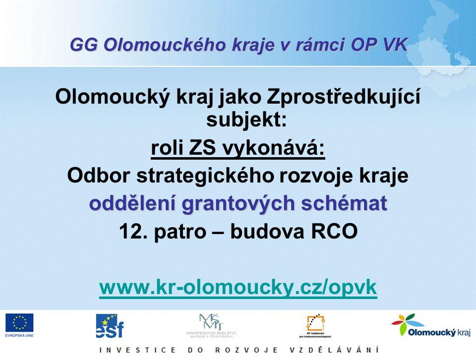 GG Olomouckého kraje v rámci OP VK Olomoucký kraj jako Zprostředkující subjekt: roli ZS vykonává: Odbor strategického rozvoje kraje oddělení grantovýc