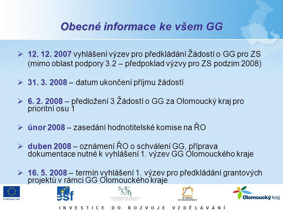 Obecné informace ke všem GG  12. 12. 2007  12. 12. 2007 vyhlášení výzev pro předkládání Žádostí o GG pro ZS (mimo oblast podpory 3.2 – předpoklad vý