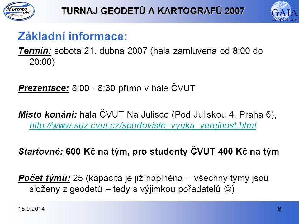 15.9.20146 TURNAJ GEODETŮ A KARTOGRAFŮ 2007 Základní informace: Termín: sobota 21.