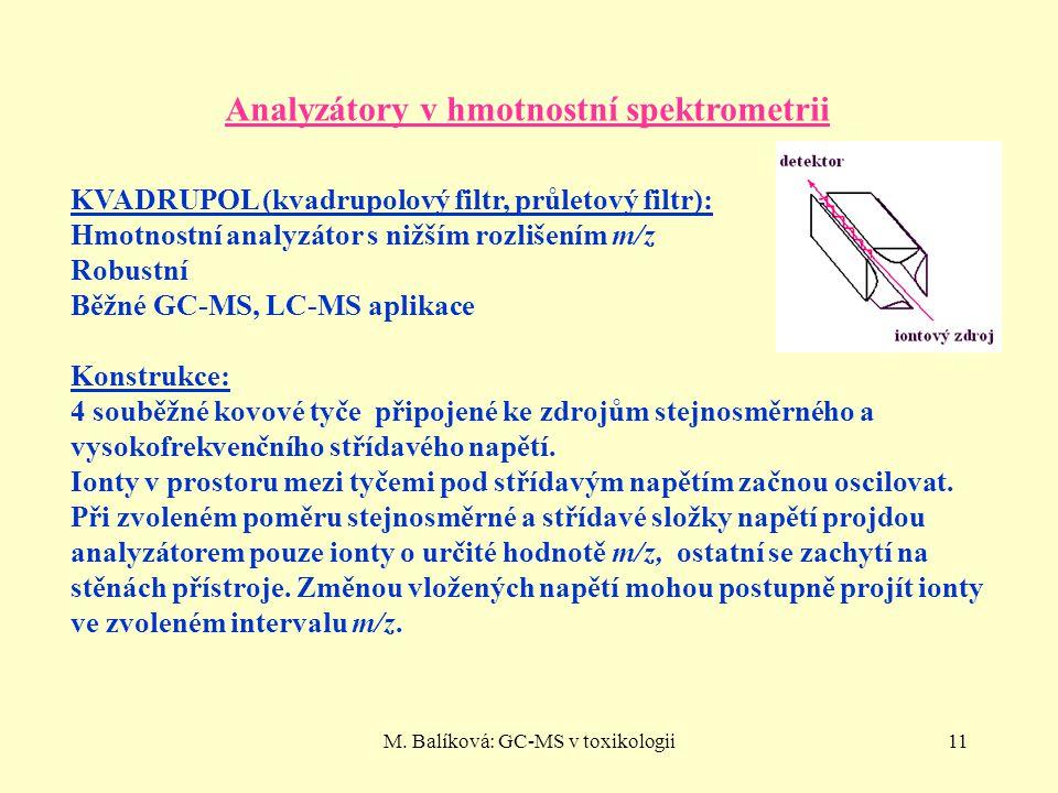 M. Balíková: GC-MS v toxikologii11 Analyzátory v hmotnostní spektrometrii KVADRUPOL (kvadrupolový filtr, průletový filtr): Hmotnostní analyzátor s niž