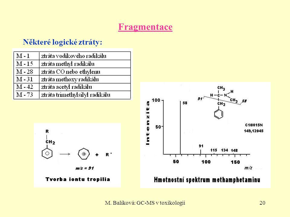 M. Balíková: GC-MS v toxikologii20 Fragmentace Některé logické ztráty: