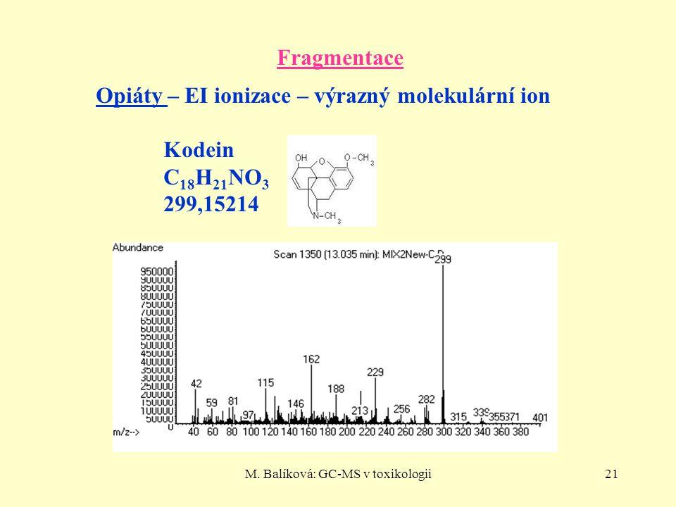 M. Balíková: GC-MS v toxikologii21 Fragmentace Opiáty – EI ionizace – výrazný molekulární ion Kodein C 18 H 21 NO 3 299,15214