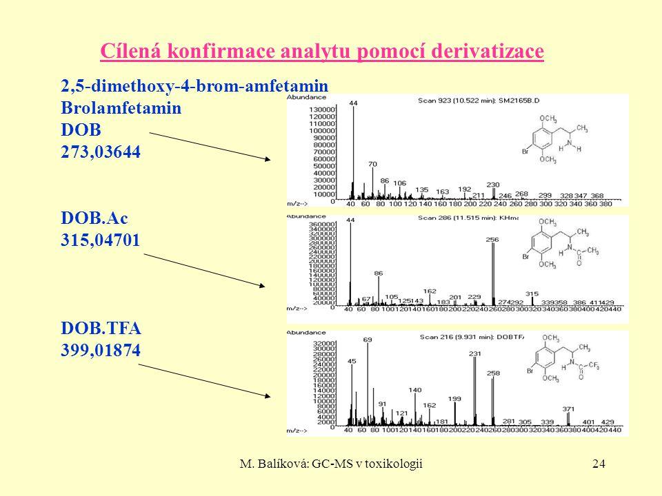 M. Balíková: GC-MS v toxikologii24 Cílená konfirmace analytu pomocí derivatizace 2,5-dimethoxy-4-brom-amfetamin Brolamfetamin DOB 273,03644 DOB.Ac 315