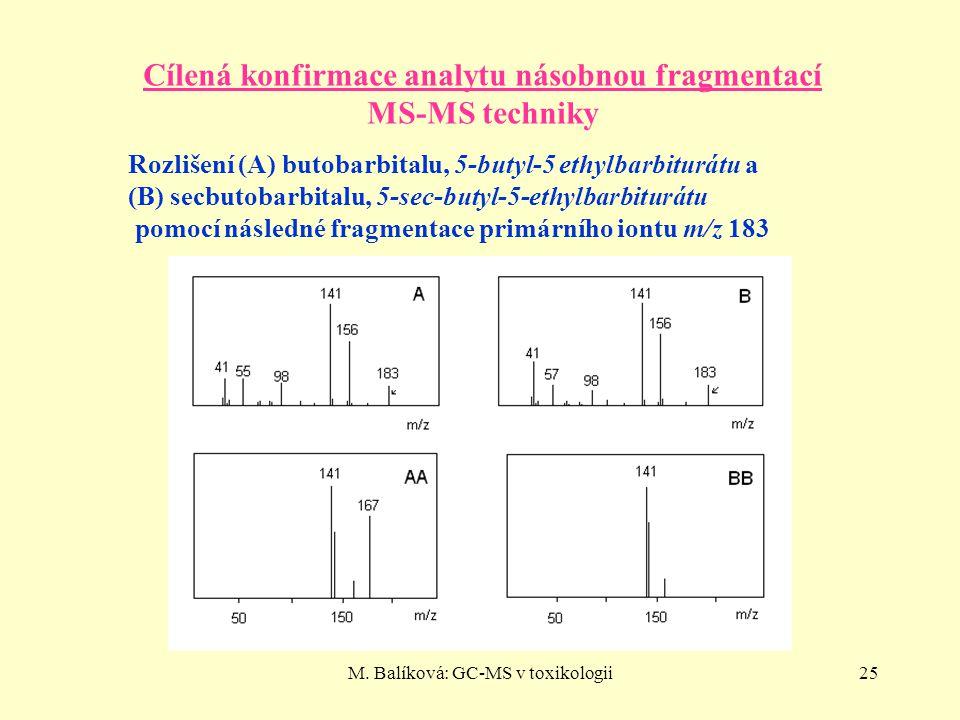 M. Balíková: GC-MS v toxikologii25 Cílená konfirmace analytu násobnou fragmentací MS-MS techniky Rozlišení (A) butobarbitalu, 5-butyl-5 ethylbarbiturá