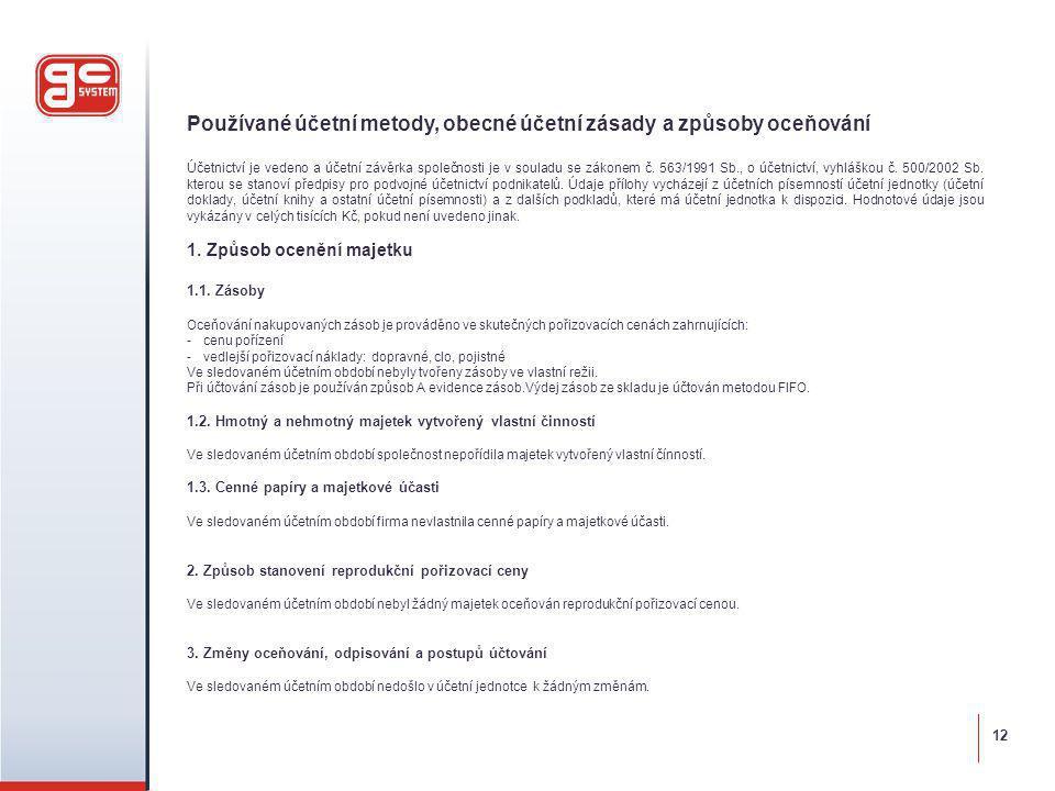 Používané účetní metody, obecné účetní zásady a způsoby oceňování Účetnictví je vedeno a účetní závěrka společnosti je v souladu se zákonem č.