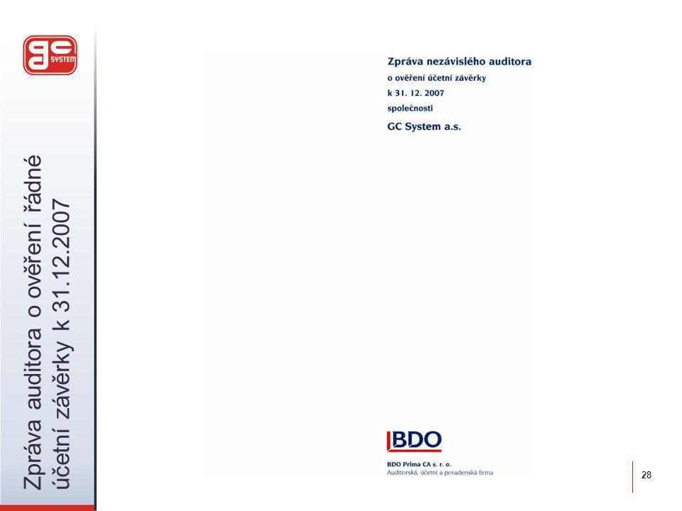 28 Zpráva auditora o ověření řádné účetní závěrky k 31.12.2007