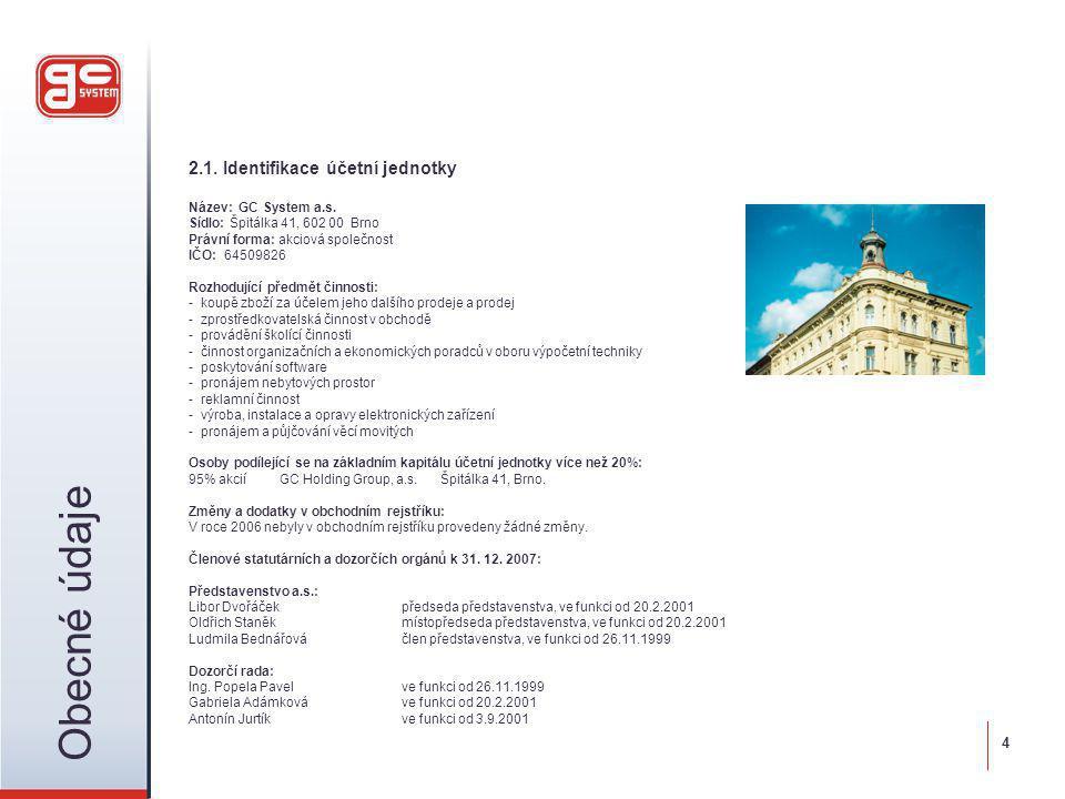 2.1. Identifikace účetní jednotky Název: GC System a.s. Sídlo: Špitálka 41, 602 00 Brno Právní forma: akciová společnost IČO: 64509826 Rozhodující pře
