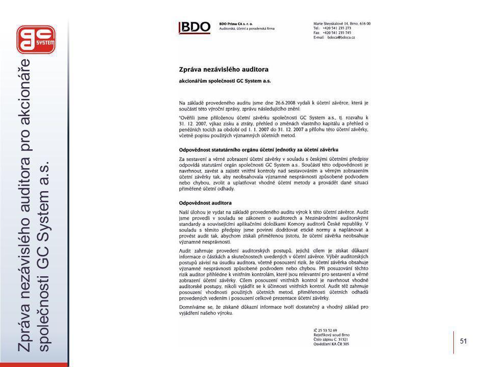 51 Zpráva nezávislého auditora pro akcionáře společnosti GC System a.s.