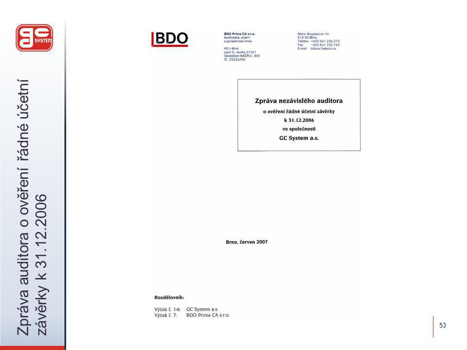 53 Zpráva auditora o ověření řádné účetní závěrky k 31.12.2006