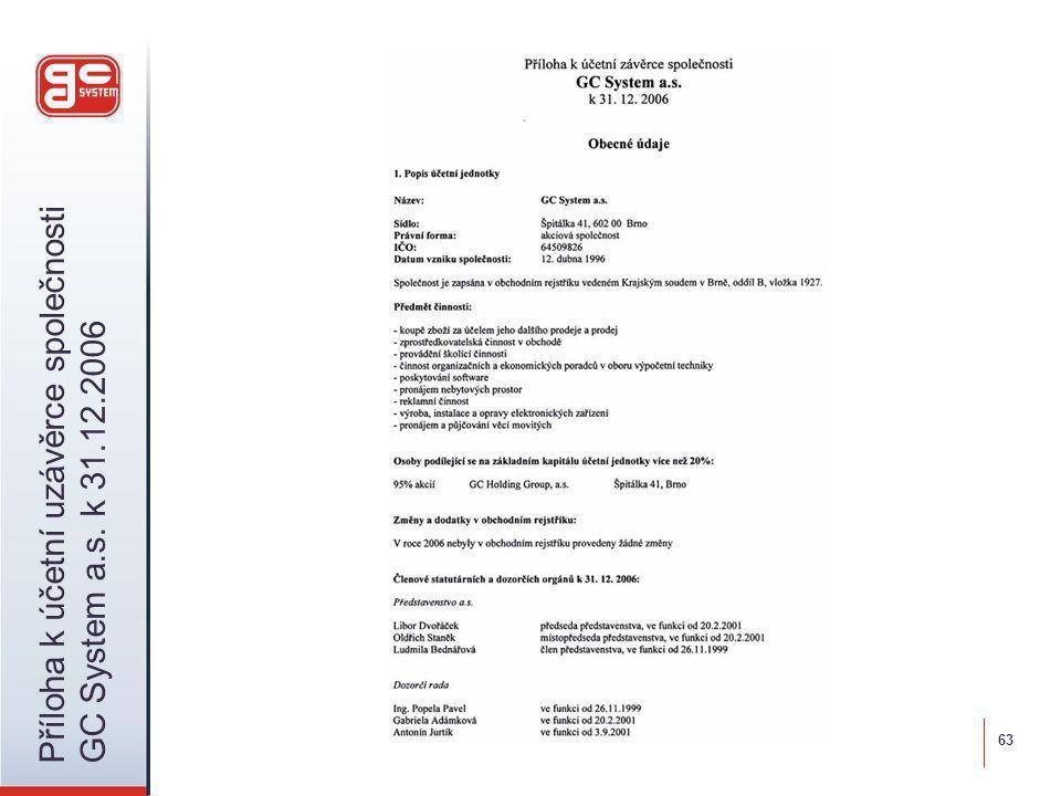 63 Příloha k účetní uzávěrce společnosti GC System a.s. k 31.12.2006