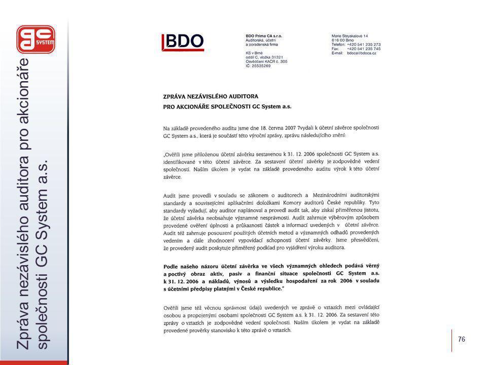 76 Zpráva nezávislého auditora pro akcionáře společnosti GC System a.s.