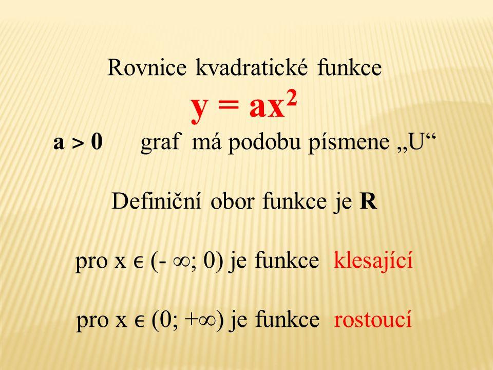 """Rovnice kvadratické funkce y = ax 2 a ˃ 0 graf má podobu písmene """"U"""" Definiční obor funkce je R pro x (- ∞; 0) je funkce klesající pro x (0; +∞) je fu"""