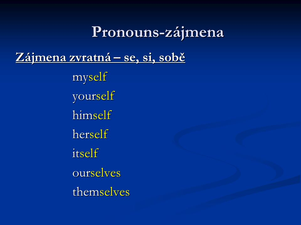 Zájmena zvratná – se, si, sobě myself myself yourself yourself himself himself herself herself itself itself ourselves ourselves themselves themselves