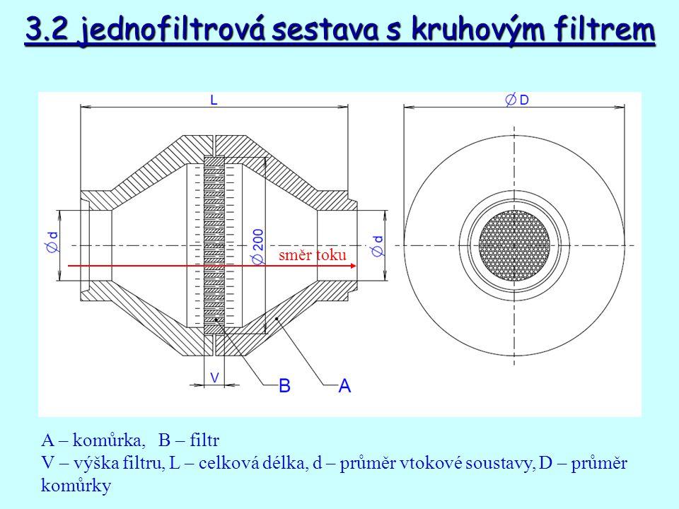 3.2 jednofiltrová sestava s kruhovým filtrem A – komůrka, B – filtr V – výška filtru, L – celková délka, d – průměr vtokové soustavy, D – průměr komůrky směr toku