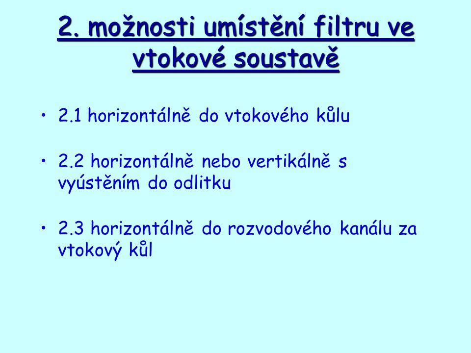 2. možnosti umístění filtru ve vtokové soustavě 2.1 horizontálně do vtokového kůlu 2.2 horizontálně nebo vertikálně s vyústěním do odlitku 2.3 horizon