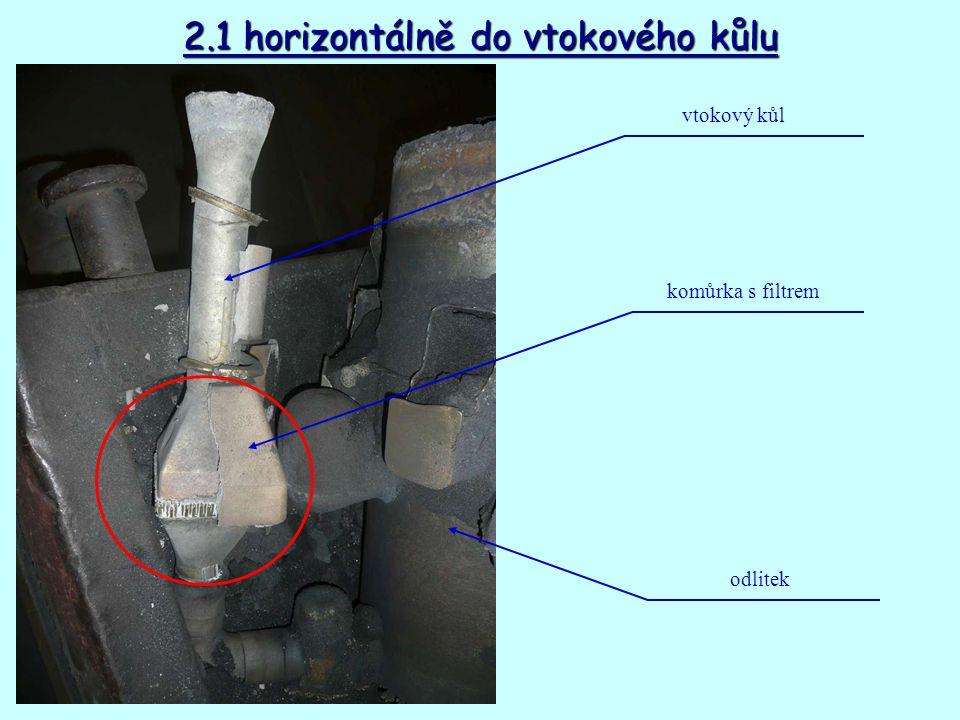 2.1 horizontálně do vtokového kůlu vtokový kůl komůrka s filtrem odlitek