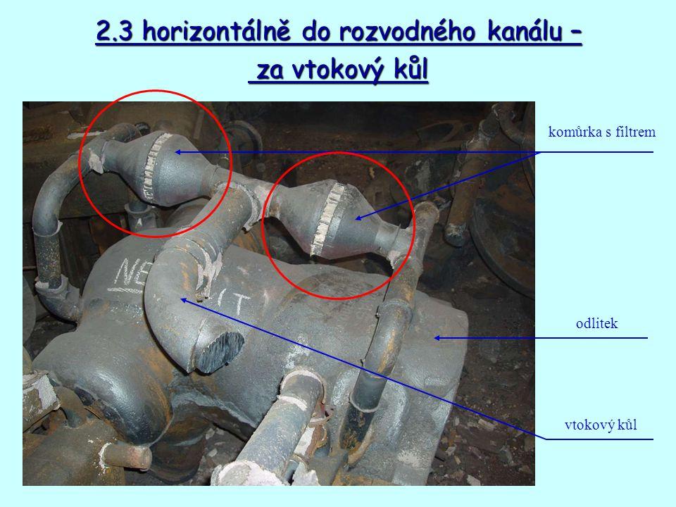 2.3 horizontálně do rozvodného kanálu – za vtokový kůl za vtokový kůl vtokový kůl komůrka s filtrem odlitek