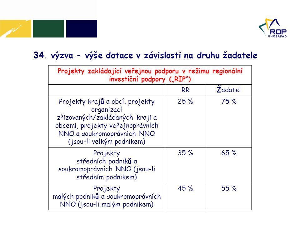 """34. výzva - výše dotace v závislosti na druhu žadatele Projekty zakládající veřejnou podporu v režimu regionální investiční podpory (""""RIP"""") RRŽadatel"""
