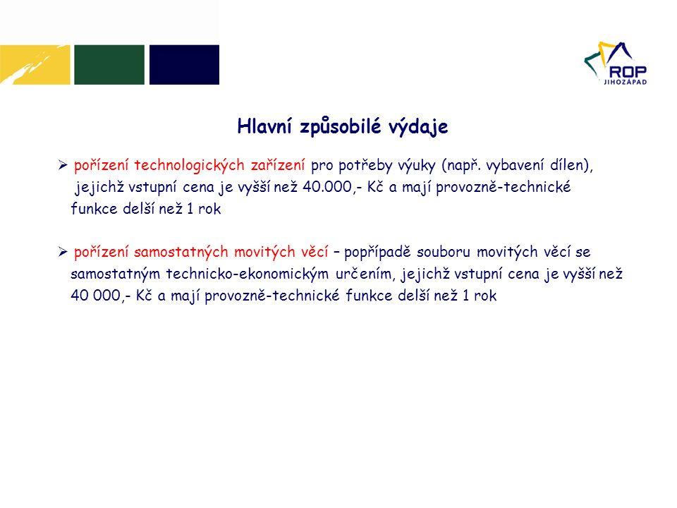  pořízení technologických zařízení pro potřeby výuky (např.