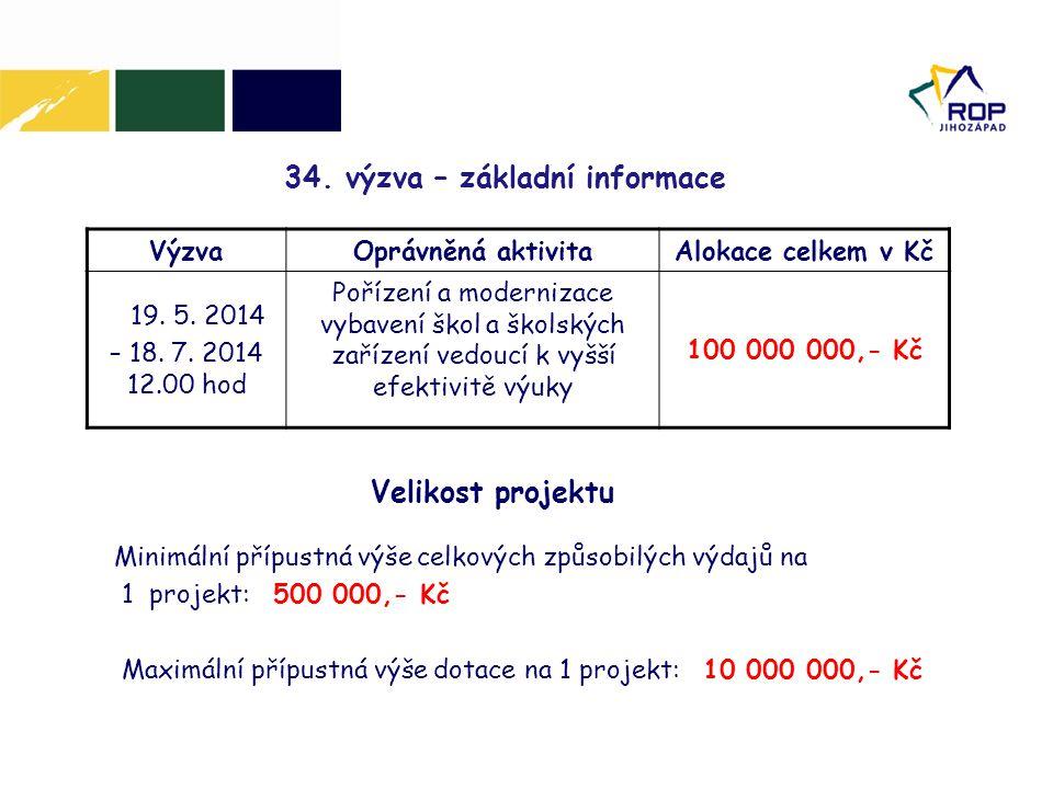 34.výzva – základní informace VýzvaOprávněná aktivitaAlokace celkem v Kč 19.