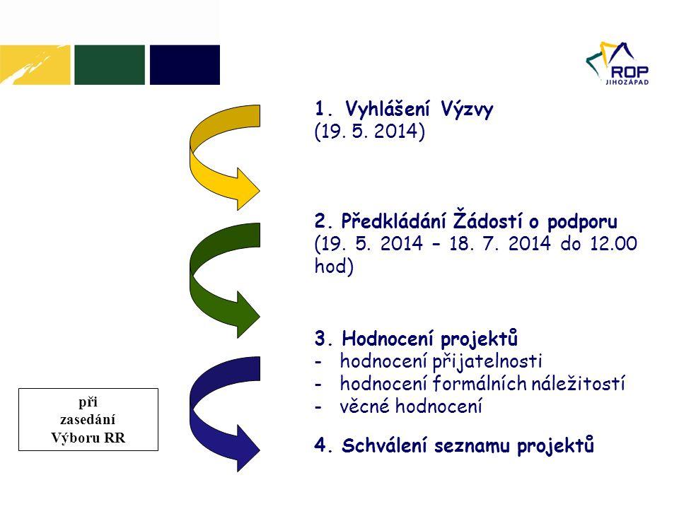 1. Vyhlášení Výzvy (19. 5. 2014) 2. Předkládání Žádostí o podporu (19. 5. 2014 – 18. 7. 2014 do 12.00 hod) 3. Hodnocení projektů -hodnocení přijatelno
