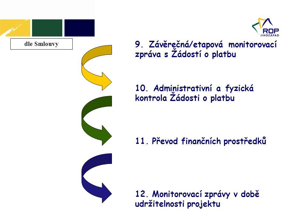 10. Administrativní a fyzická kontrola Žádosti o platbu dle Smlouvy 9. Závěrečná/etapová monitorovací zpráva s Žádostí o platbu 11. Převod finančních