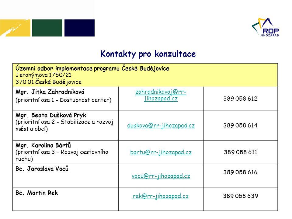 Územní odbor implementace programu České Budějovice Jeronýmova 1750/21 370 01 České Budějovice Mgr. Jitka Zahradníková (prioritní osa 1 - Dostupnost c