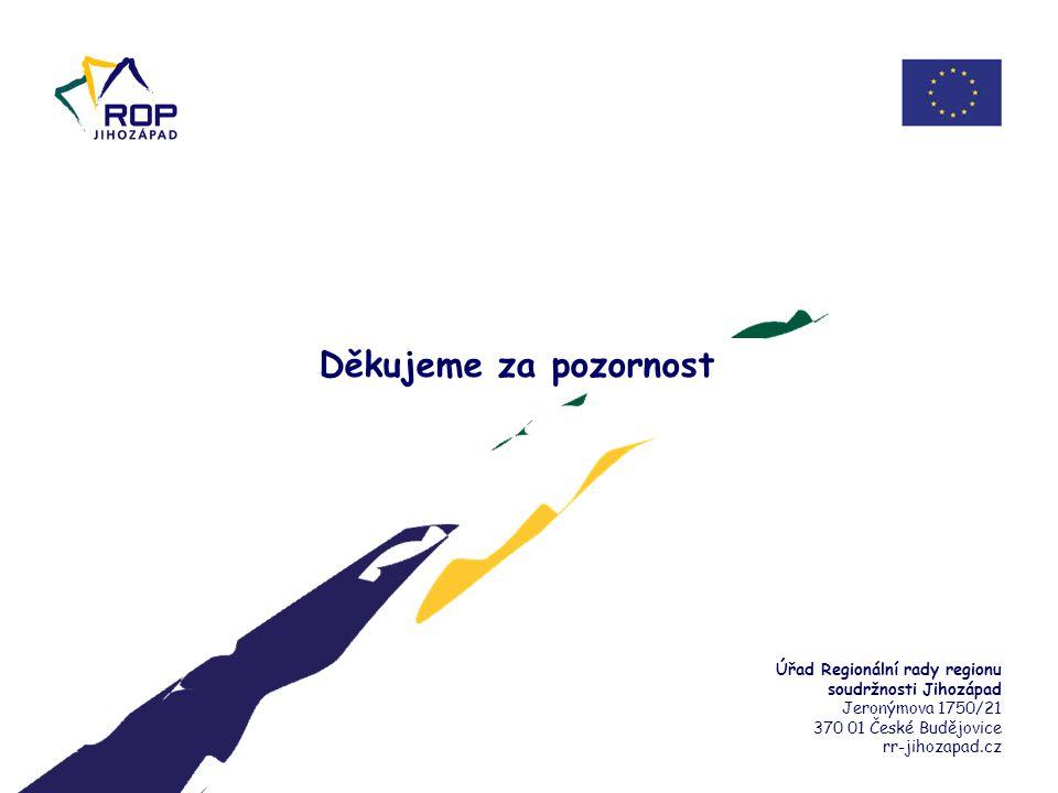 Děkujeme za pozornost Úřad Regionální rady regionu soudržnosti Jihozápad Jeronýmova 1750/21 370 01 České Budějovice rr-jihozapad.cz