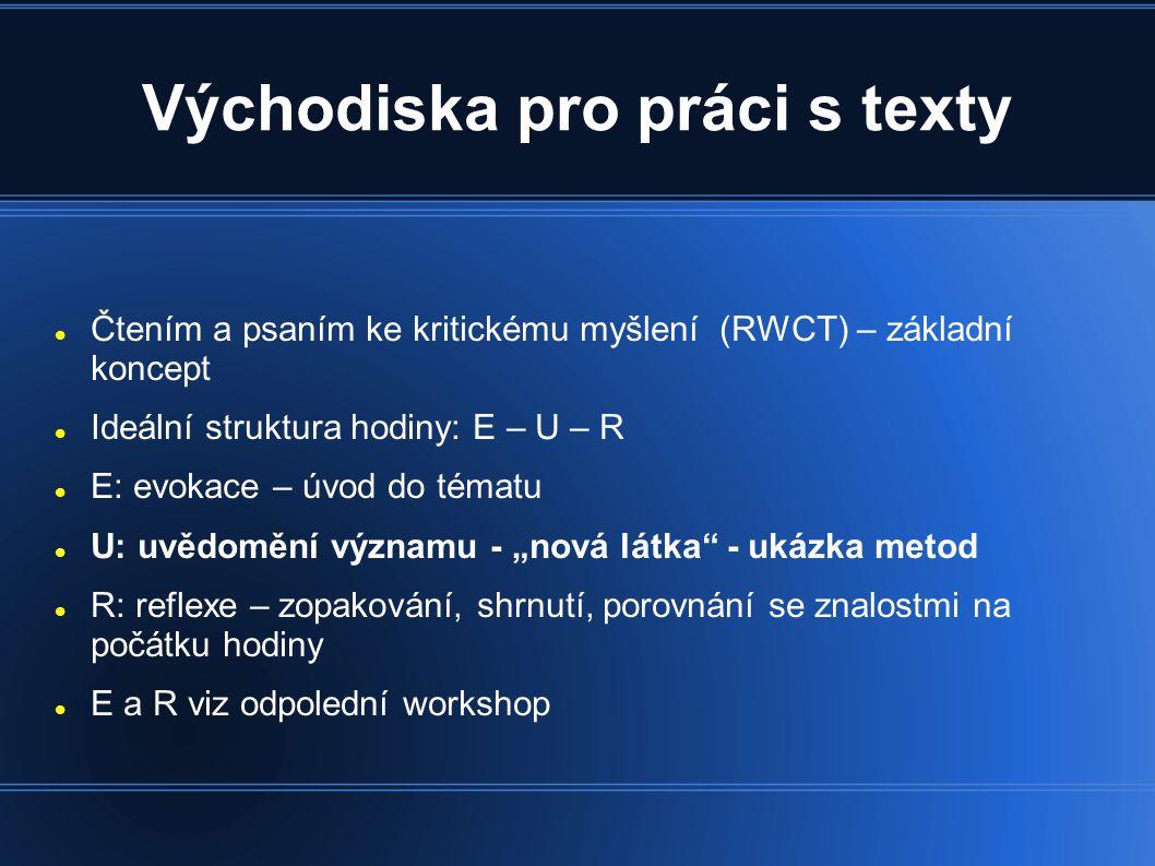 Metoda: minipřednáška - práce skupin - rozdělení tématu na části (plazi: hadi, ještěři, želvy, krokodýli) - skupina na základě textu připraví výklad své části + poznámky na velký arch papíru, folii - jednotlivé skupiny vykládají před třídou