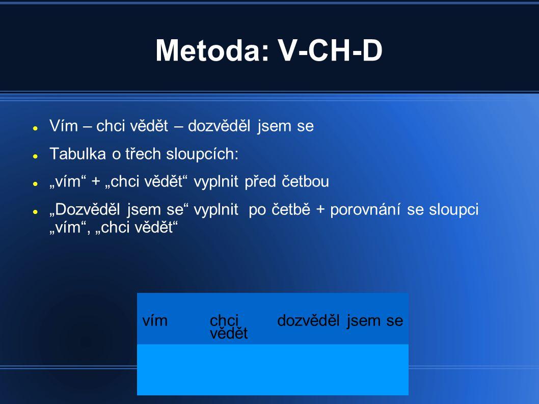 """Metoda: V-CH-D Vím – chci vědět – dozvěděl jsem se Tabulka o třech sloupcích: """"vím"""" + """"chci vědět"""" vyplnit před četbou """"Dozvěděl jsem se"""" vyplnit po č"""
