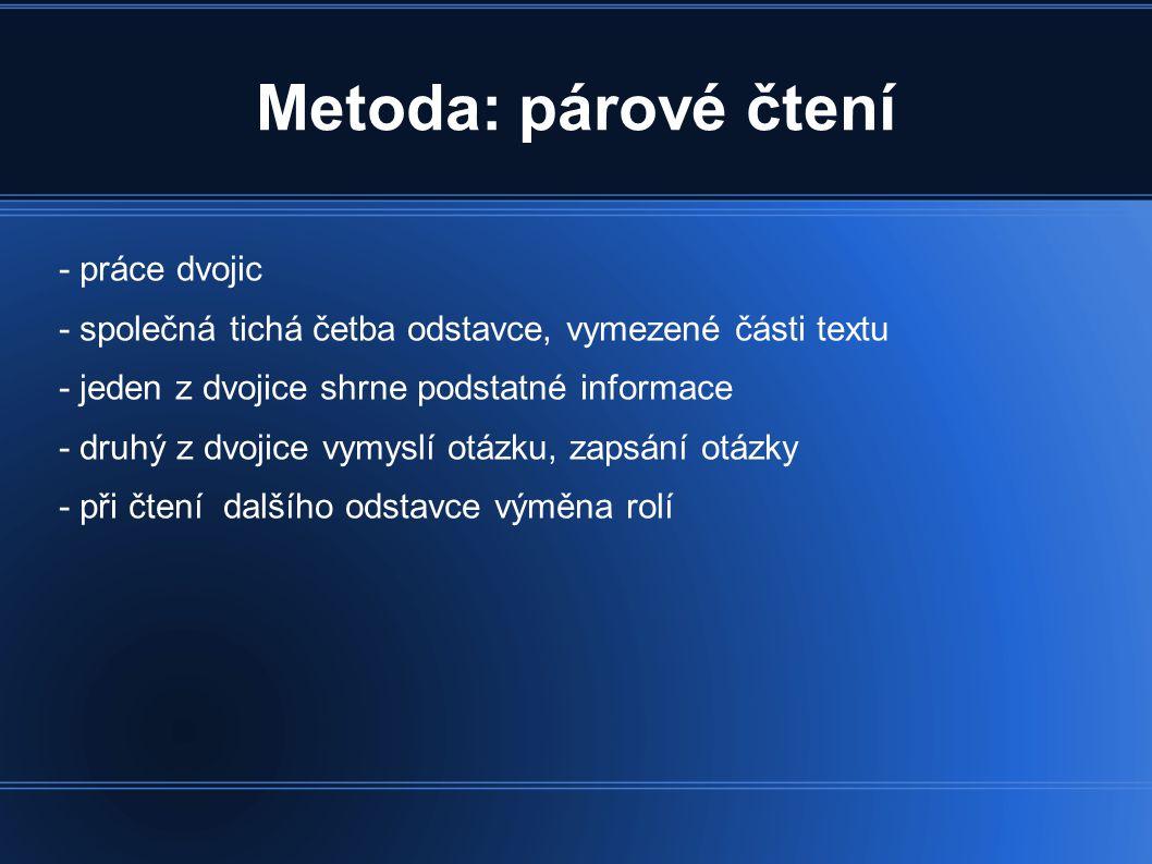 Metoda: párové čtení - práce dvojic - společná tichá četba odstavce, vymezené části textu - jeden z dvojice shrne podstatné informace - druhý z dvojic