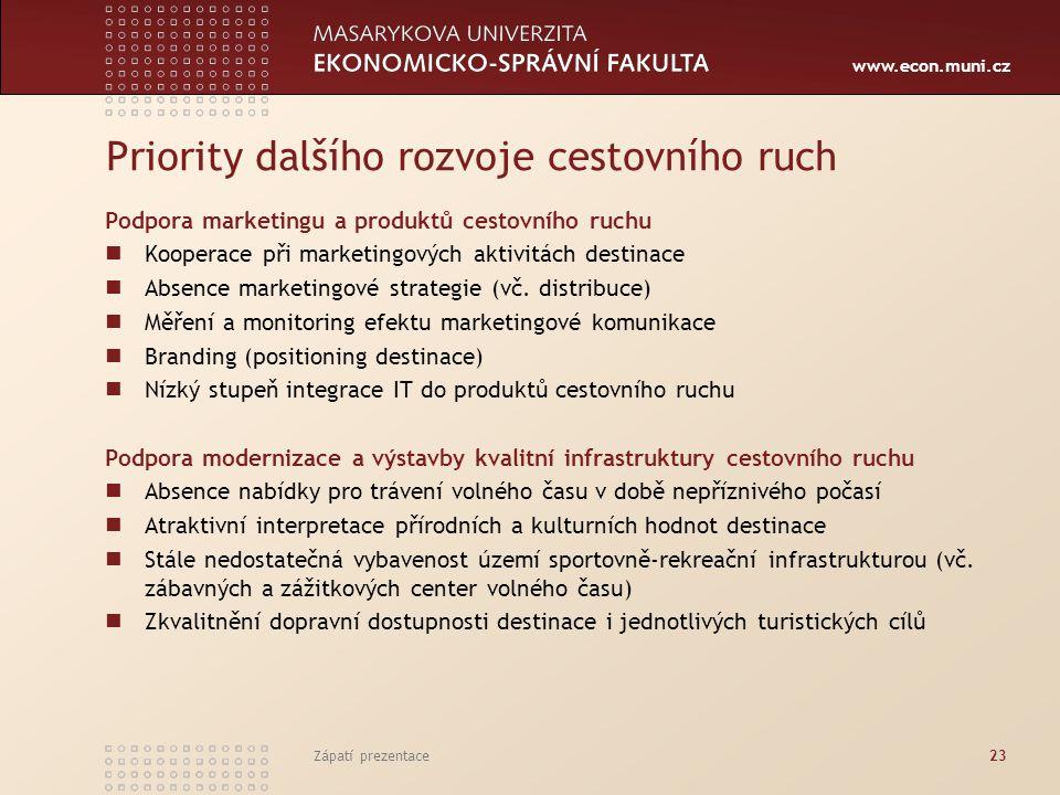www.econ.muni.cz Priority dalšího rozvoje cestovního ruch Podpora marketingu a produktů cestovního ruchu Kooperace při marketingových aktivitách destinace Absence marketingové strategie (vč.