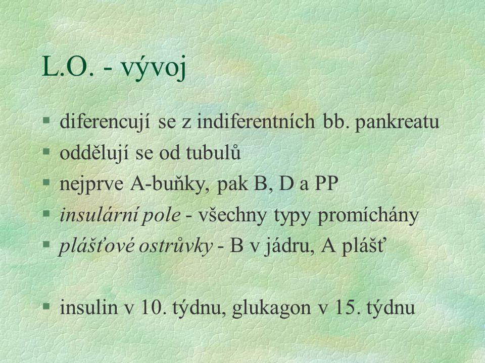 L.O. - vývoj §diferencují se z indiferentních bb. pankreatu §oddělují se od tubulů §nejprve A-buňky, pak B, D a PP §insulární pole - všechny typy prom